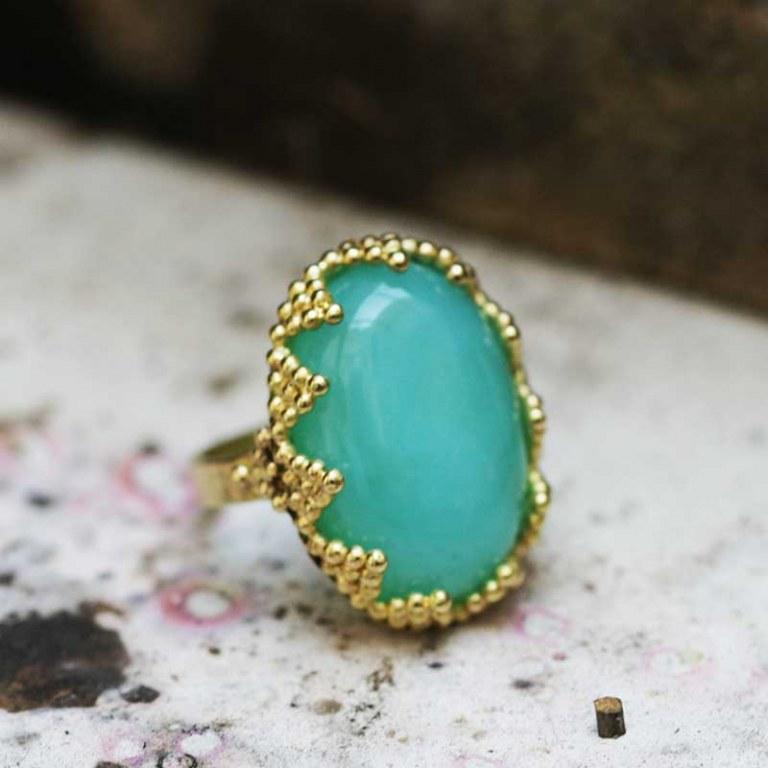 Bague Granulation Opale Bleue