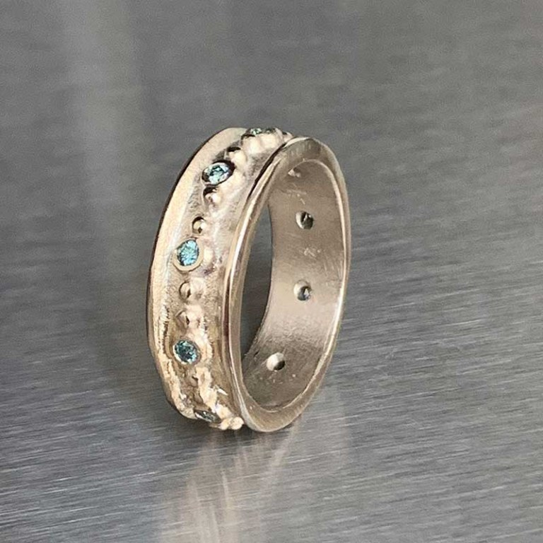 Anneau Paros Perlé & Diamants Bleus