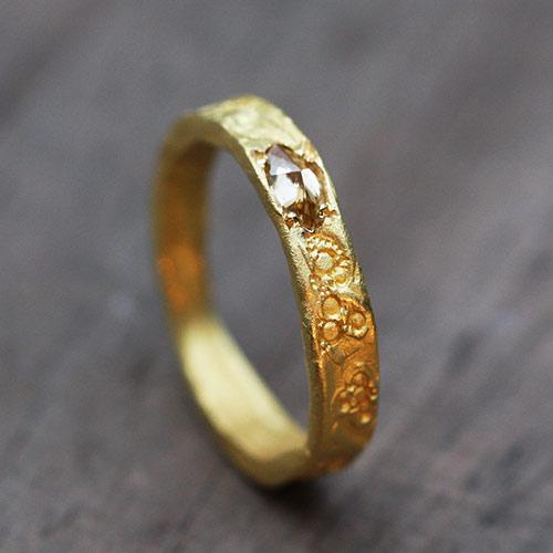 Anneau diamant jaune