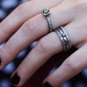 Bague Sentiment Diamant gris-noir