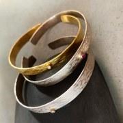 Bracelet Ecorce Argent Rubis