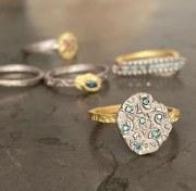 Bague Bicolore Diamants bleus