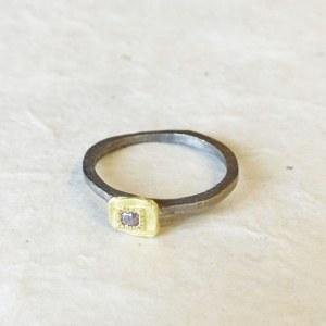 Bague Fine Carrée Diamant rose