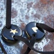Bracelet émail noir & coeur or