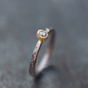 Bague Fine Bicolore Diamant rose