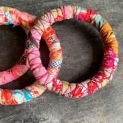 Bracelet Tissu Rose Vert