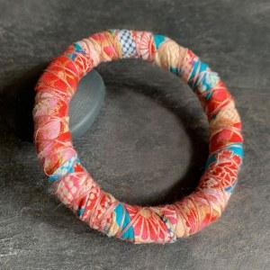 Bracelet Tissu Rose Rouge Orange Bleu