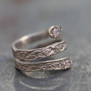 Bague Serpent Or gris diamants roses