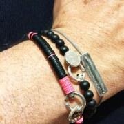 Bracelet Homme Bakélite noir/rouge