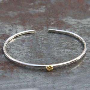 Bracelet Jonc Fleur Or