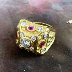 Bague médiévale Rubis/Diamants
