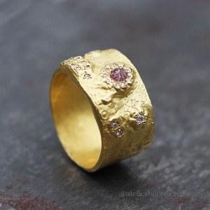 Anneau Diamants Roses