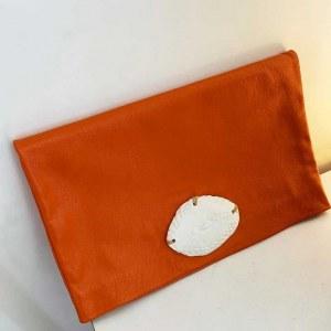 Pochette Cuir Orange