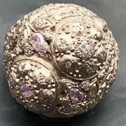 Bague Boule Or gris Diamants roses
