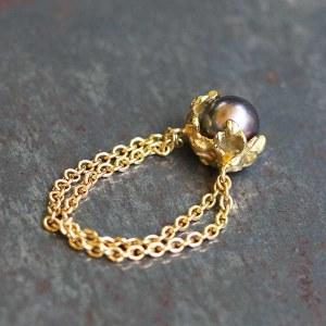 Bague chaîne/perle