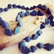 Collier Chapelet Porcelaine bleue
