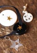 Médaille étoile platine/lien gris