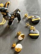 Boucles d'oreille Noires & Or