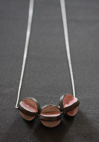 Collier céramique rose